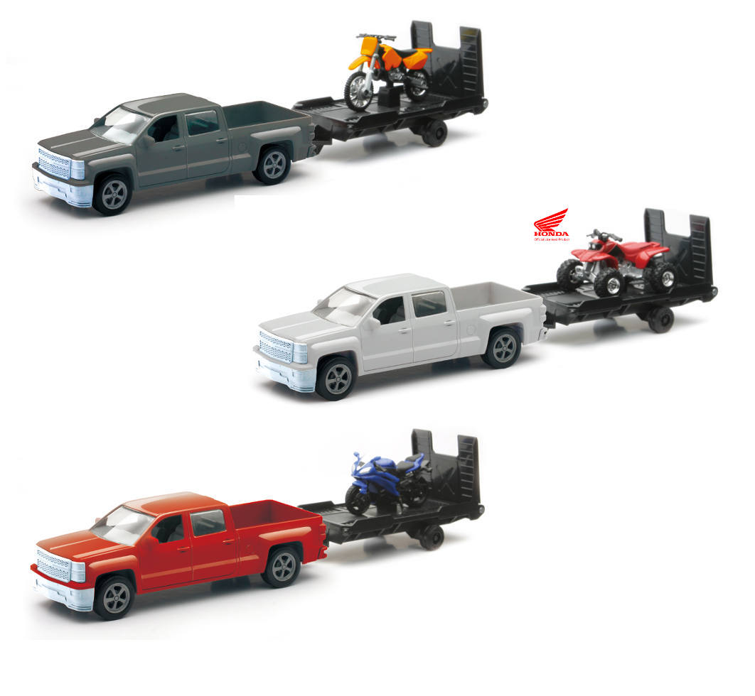 New Ray Toys 1:43 Scale Chevrolet Silverado Pick Up W// Bike or ATV Assorted Style And Colors