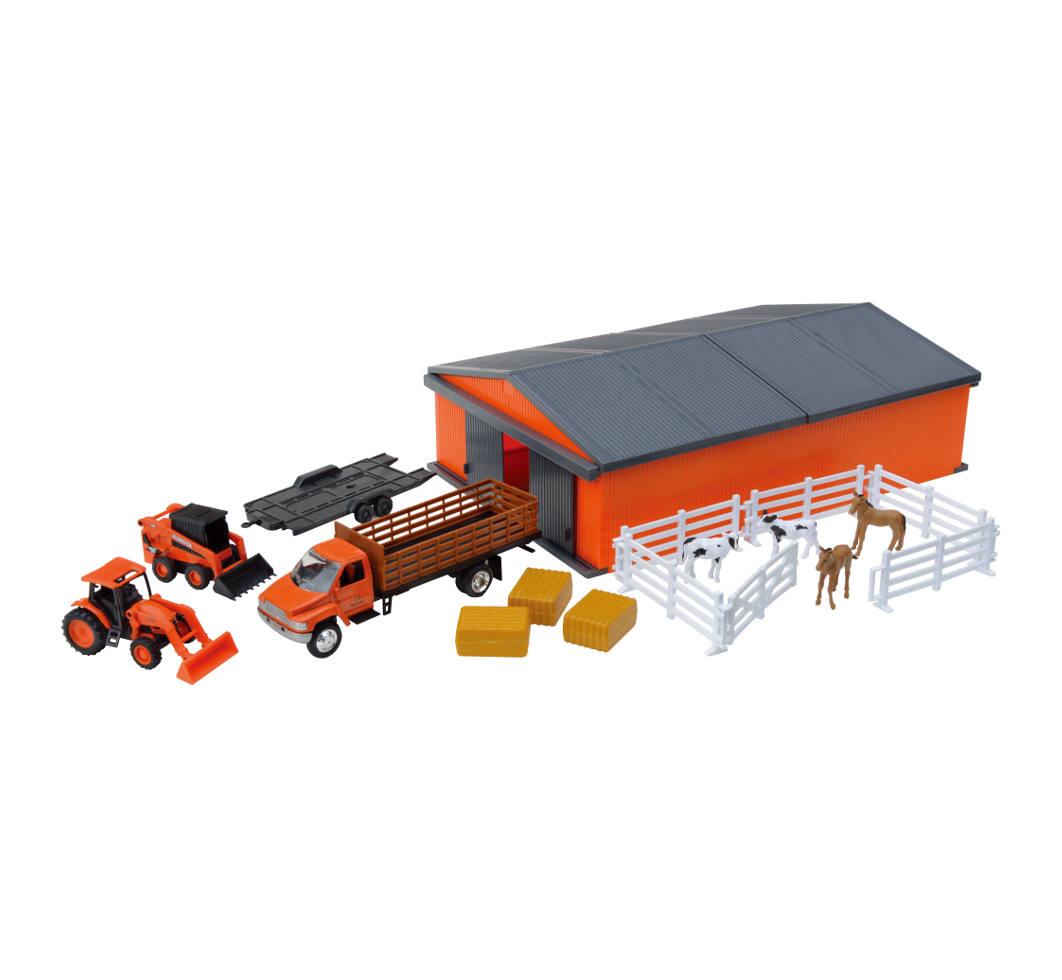 Kubota Farm Vehicles W Machine Shed Set New Ray Toys