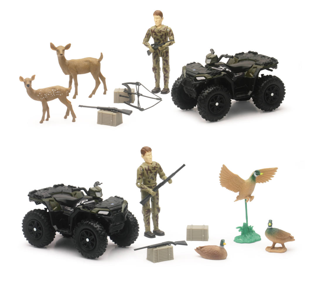 New-Ray Wildlife Hunter Play Set POLARIS XP1000 Deer Guns Crossbow Fig 9 pcs Toy
